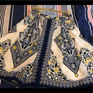 Banana Republic Navy Blue and yellow skirt